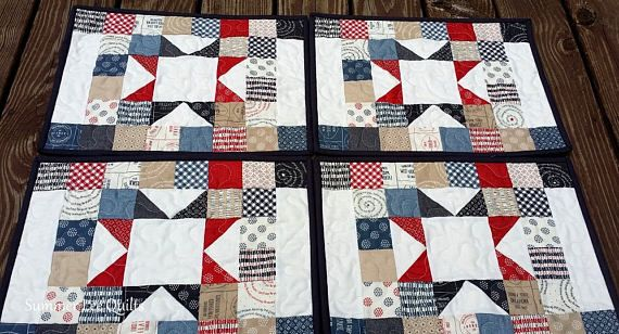 Red White And Blue Placemat Set Of 4 Placemats Red Red And White