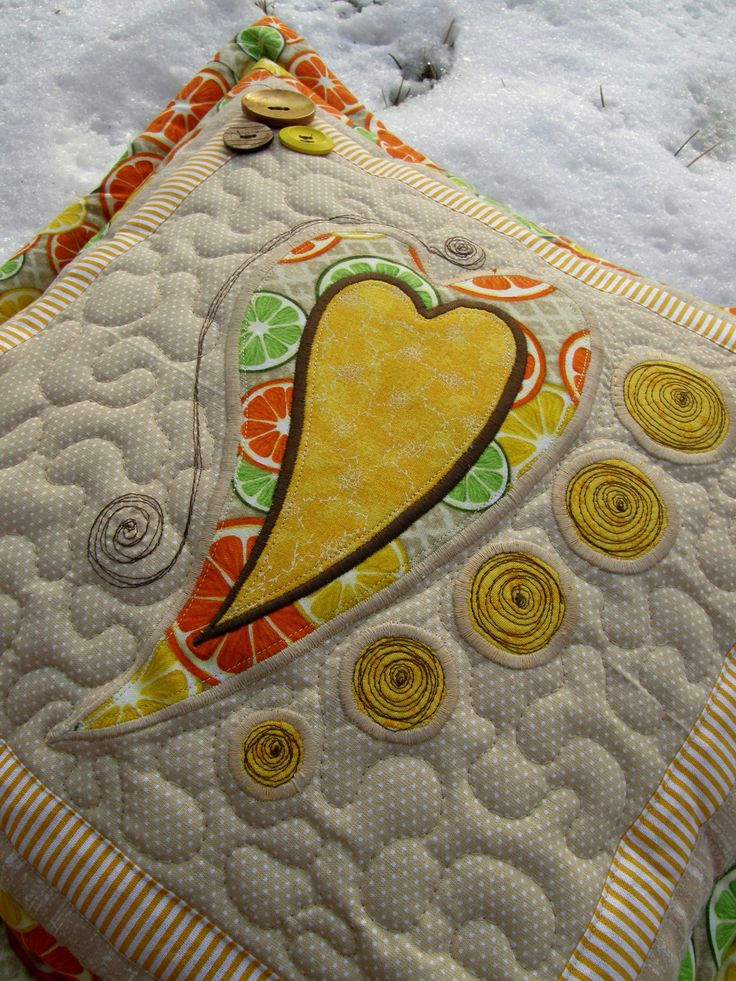 Pillow with heart appliqué by Kajura on Etsy