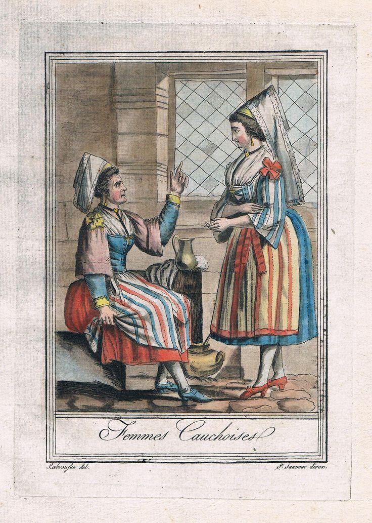 1780 Pays de Caux Normandie France People Costume Engraving Gravure