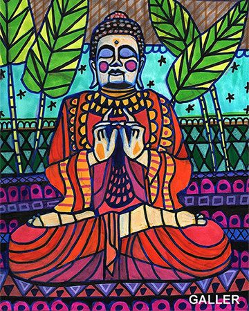 50% Off - Buddha Statue art Buddhism Print Poster Maui Sacred Garden by Heather Galler (HG221109)