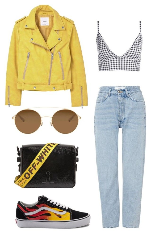 """sunshine, daisy, yellow."" by ksasya on Polyvore featuring Boohoo, MANGO, Won Hundred, Vans, Off-White and Mykita"
