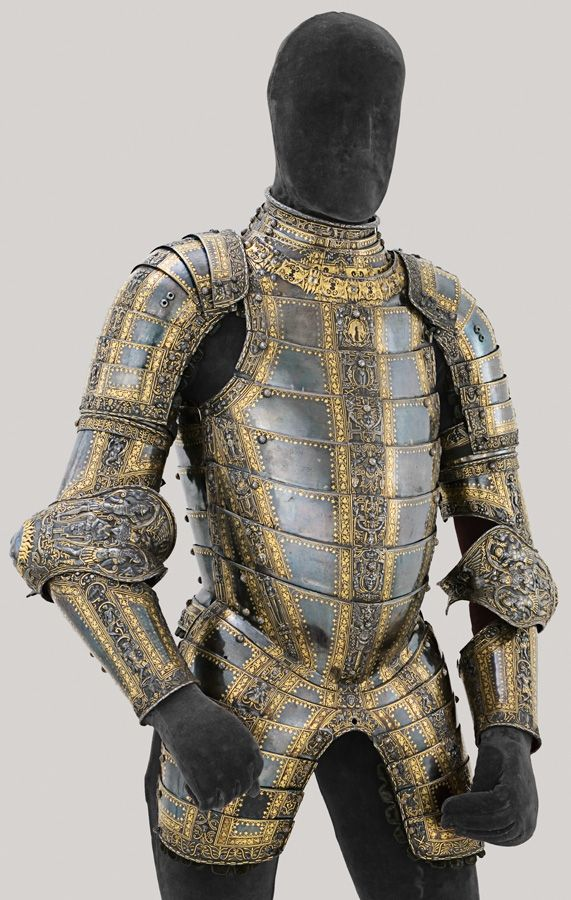 The Art of Power -Desiderius Helmschmid, German, documented 1513–1579, Jörg Sigman, German, 1527–1601, Parade Armor of Philip II, Augsburg, 1549–1550 and 1552, gilt and damascened steel; brass and leather, Patrimonio Nacional, Real Armería, Madrid