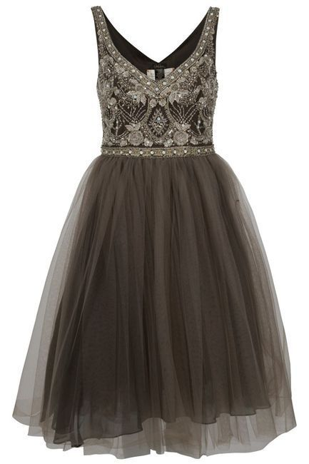Vintage tulle and beaded.