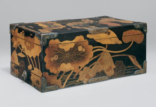 """Sutra Box (Kyōbako) with Lotus Pond. E early 17th century, Japan. Lacquered wood with gold togidashimaki-e, hiramaki-e, and e-nashiji (""""pear-skin picture""""). Mary Griggs Burke Collection, Gift of the Mary and Jackson Burke Foundation, 2015. MET"""