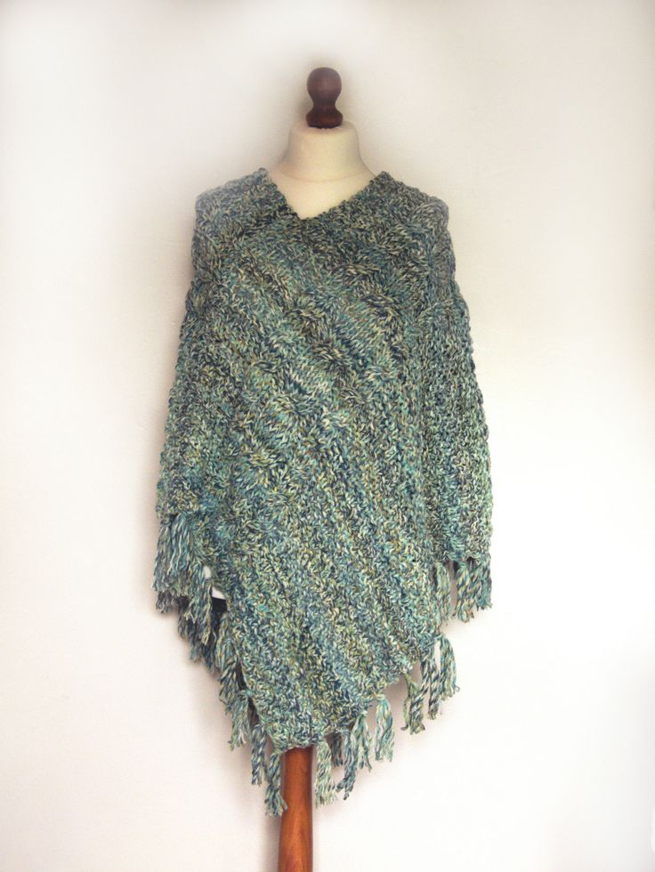 Ladies Hand Knitted Chunky Poncho, Cape, Shawl, Wrap With Fringe and Triple Cable Detail Blue, Green, White, Turquoise, Teal - pinned by pin4etsy.com