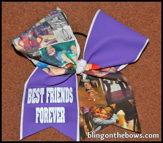 How cute. I need to figure out how to do this. But until then, order at; CUSTOM photo cheer bow by blingonthebowz on Etsy, $20.00
