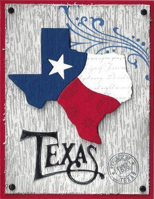 By Stampaction of El Paso. Uses Deadbeat Designs dies: Texas Flag (3 dies) and Texas Word Die. Uses Deadbeat designs stamps: Ornate Swirl and Texas Post.