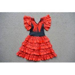 Spaanse jurk satijn rood/zwart mt 2
