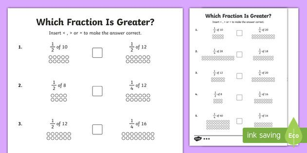 Which Fraction Is Greater? Activity Sheets