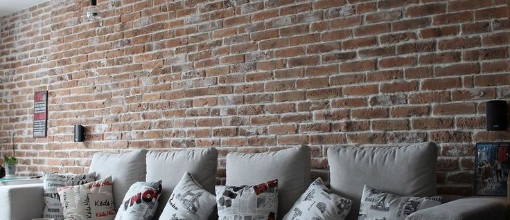Lounge Feature wall using Rustic Red Blend brick slips