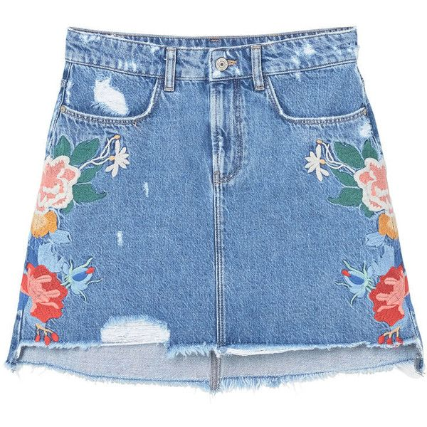 MANGO Embroidered Denim Skirt (£48) ❤ liked on Polyvore featuring skirts, bottoms, embellished skirt, floral printed skirt, floral knee length skirt, flower print skirt and floral print skirt