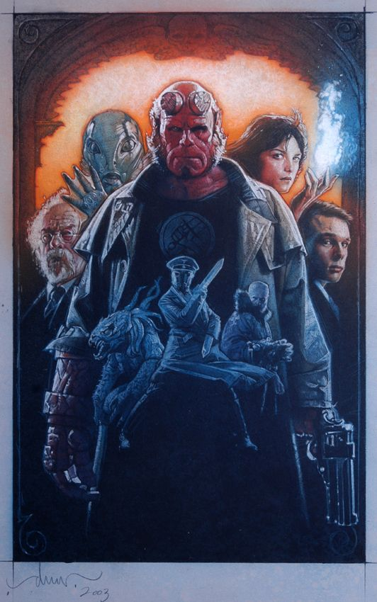 Hellboy by Drew Struzan. Sadly, the studios opted for photoshop poster instead of this gorgeous creation by Drew.