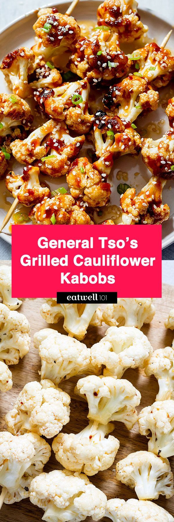 A crunchy-sweet twist on a take-out favorite. These General Tso's Grilled Cauliflower Kabobs are on the healthier side and is pretty appropriate for a vegan hors d'oeuvre or snack. Caul…