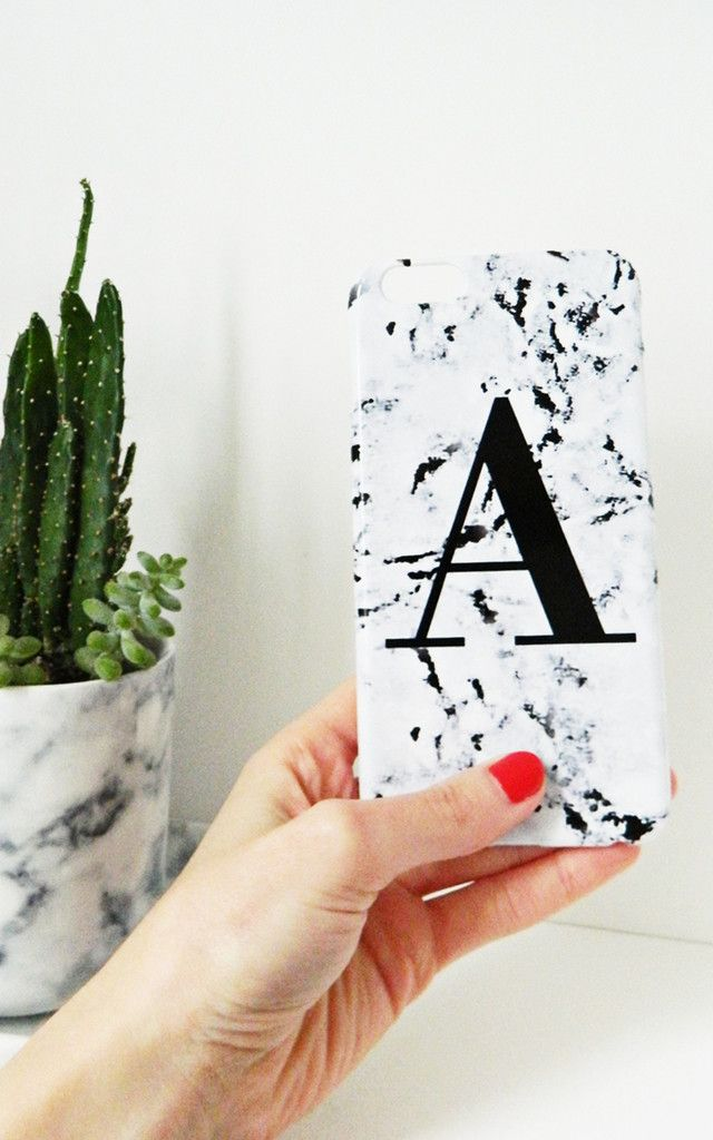 Marbled Single Letter Personalised Phone Case ... - SilkFred