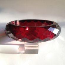 Bakelite Bangle Bracelet ~Oval Transparent Facet Carved. I have this.