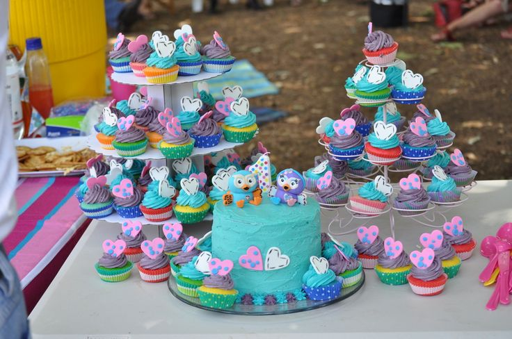 giggle and hoot themed cupcake tower and cake, edible toppers made by Sweet Toppers.  Toppers created by Sweet Toppers https://www.facebook.com/SweetToppers?ref=hl  http://cgi.ebay.com.au/ws/eBayISAPI.dll?ViewItem&item=111269901174&ssPageName=STRK:MESE:IT