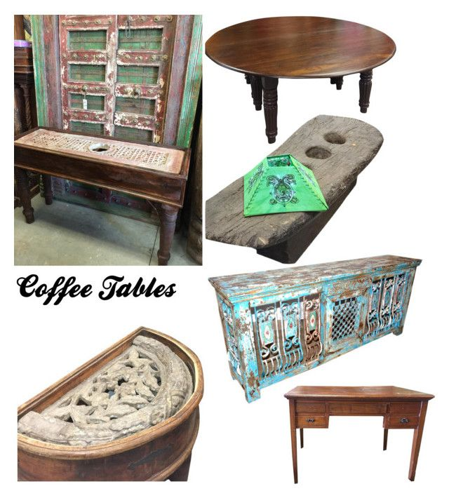 """""""Antique Coffee Tables"""" by era-chandok ❤ liked on Polyvore featuring interior, interiors, interior design, home, home decor, interior decorating, table, indianfurniture, officetable and dinningdecor"""