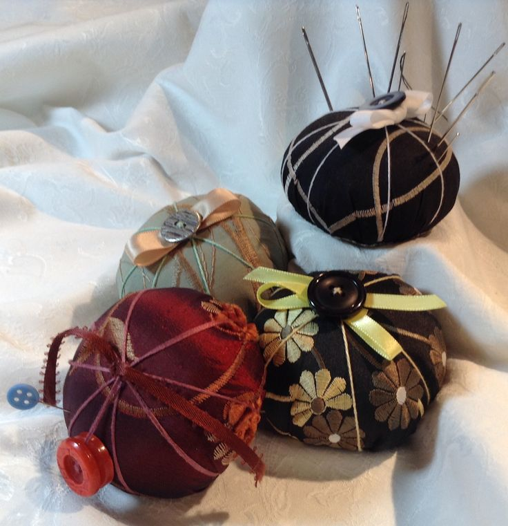 Handmade pin cushions in embroidered satin and silk