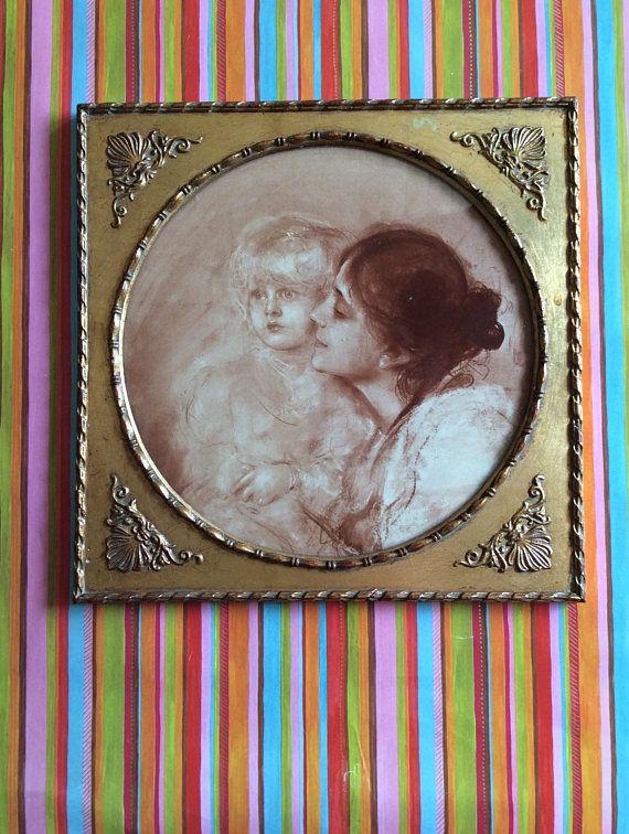 Moeder en kind Lenbach Duitsland lithografie in sepia