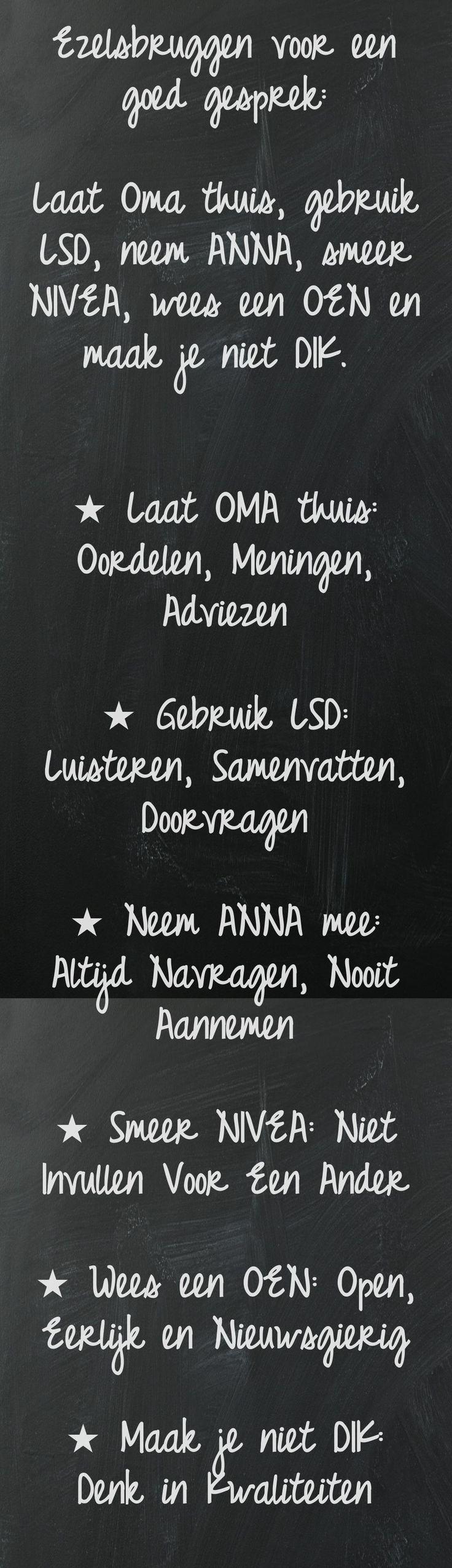 Een goed gesprek: OMA, NIVEA, LSD, ANNA, OEN en DIK Ook eens gekregen van onze directeur net voor het oudercontact ;-)