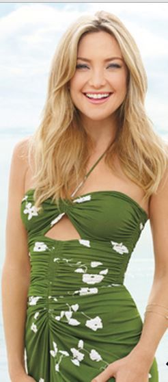 Who made Kate Hudson's green floral cut out halter dress?