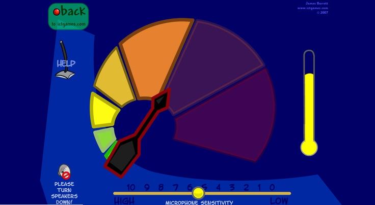 Geluidsmeter voor op het digibord in de klas. Kinderen kunnen meteen zien wanneer ze te veel herrie maken. http://www.ictgames.com/calmCounter.html