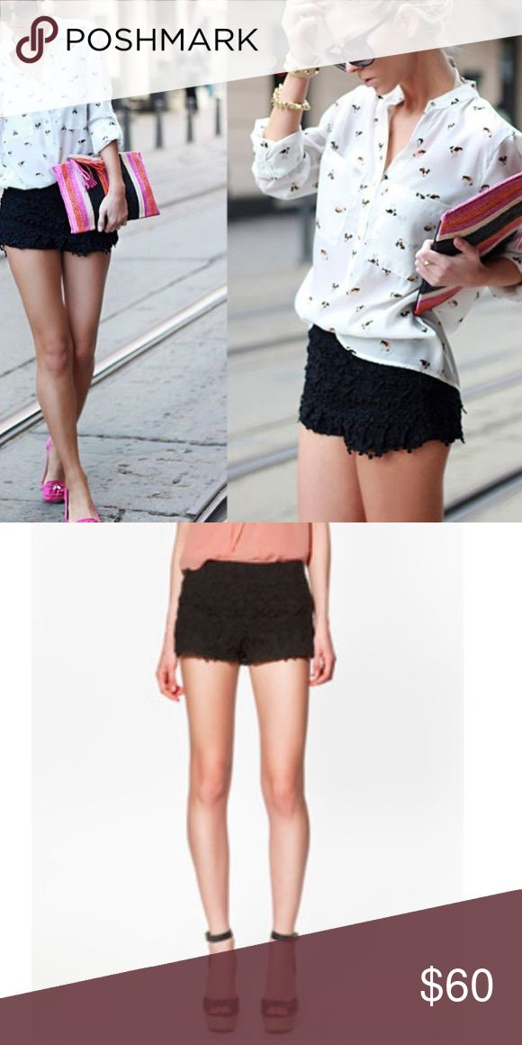 Zara Black Crochet Shorts Excellent condition. Also available in cream color. Zipper closure on the side. Fast shipping. Zara Shorts