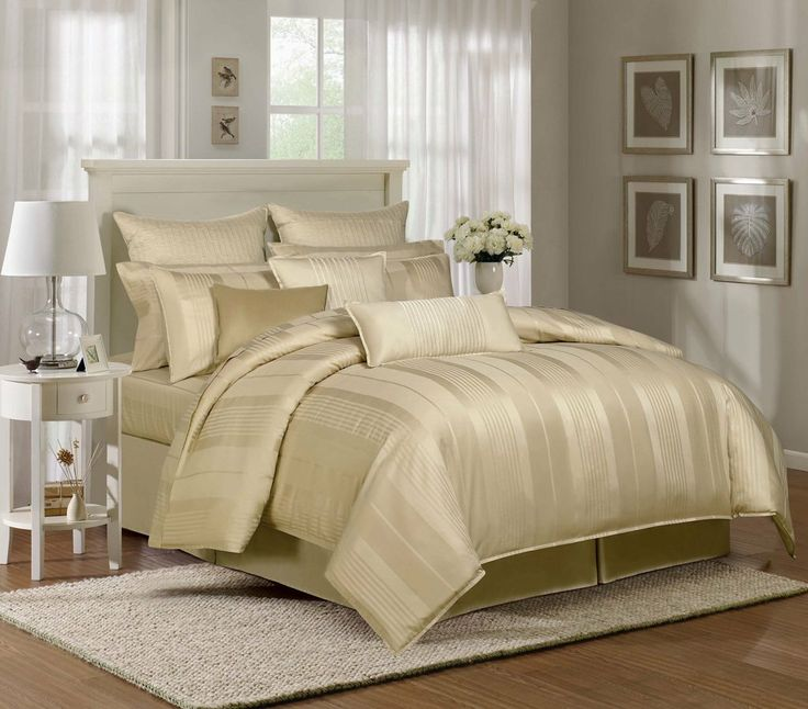 9 Piece King Pavillion Gold 500tc 100 Cotton Duvet Cover Set