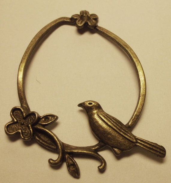 CLEARANCE brass bird in circular branch with by rabbitssupplies