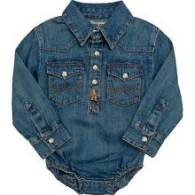 Wrangler denim with snaps. My future baby is going to be a cowboy!