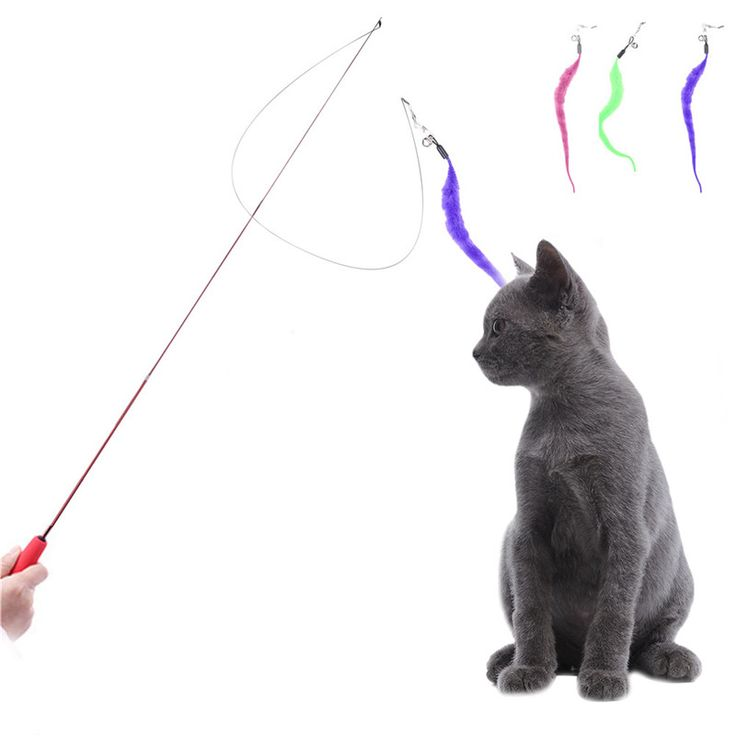 cute design cat stick flexible extendable pet cat toy wire feather teaser plush flying training for