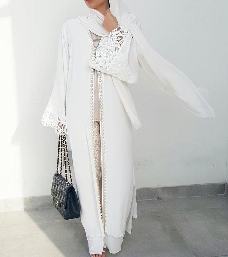 white pearl abaya- white abaya - fall hijab styles 2017| summer hijab style