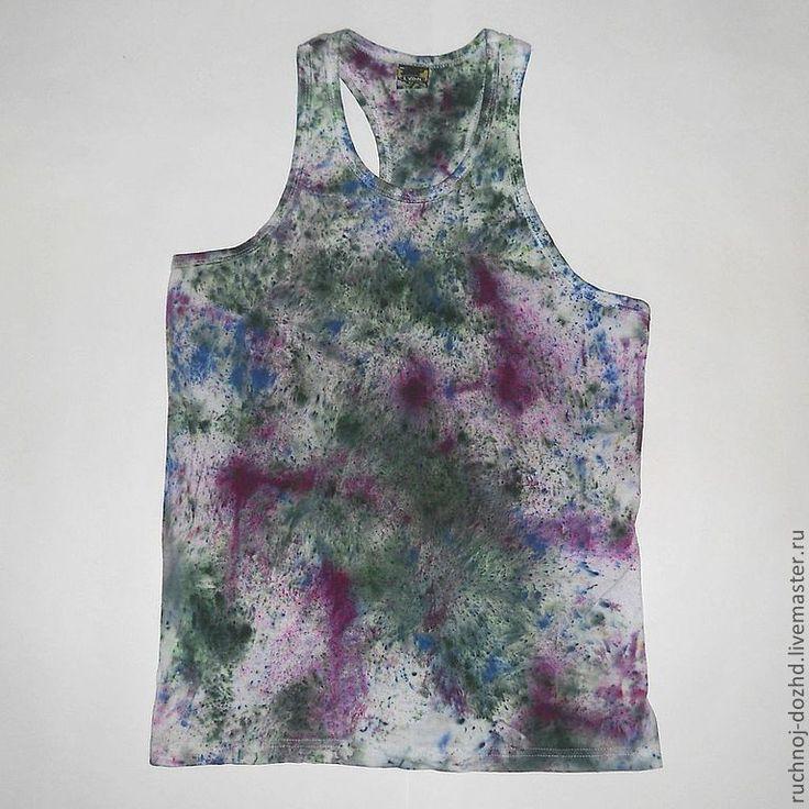 """Майка мужская """"Холи"""" с индийского фестиваля красок. Вашему вниманию футболки, окрашенные качественными текстильными красками. Полное ощущение, что они побывали на Холи!"""