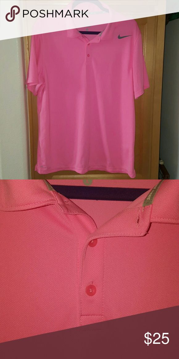 Nike men's dri fit tennis pink Polo Shirt size lg Excellent pre owned condition. Made from polyester Nike Shirts Polos