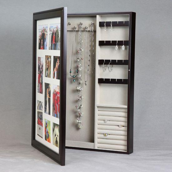 Photo Frame Wooden Jewelry Box. #DIY #organize #jewelry #DIY #organize #necklace  #necklaces #DIY #organize #bracelets #DIY #organize #earrings  #DIY #organize #rings #organize #accessories