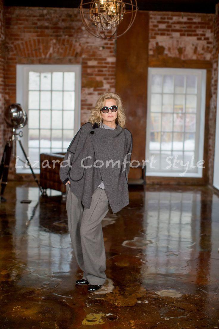 НД2700: Куртка Кимоно, шерсть/вискоза. Размер 50/52/54. Лесель.Брюки из теплой мягкой шерсти, размер 48/50/52.КО. Джемпер Серый меланж, шерсть/кашемир/нейлон
