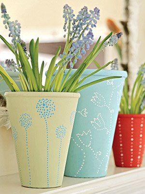 Painted Pot Ideas   Pretty up some plain terra-cotta pots with paint: