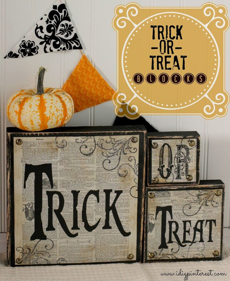 I Dig Pinterest: DIY Trick-or-Treat Wood Blocks