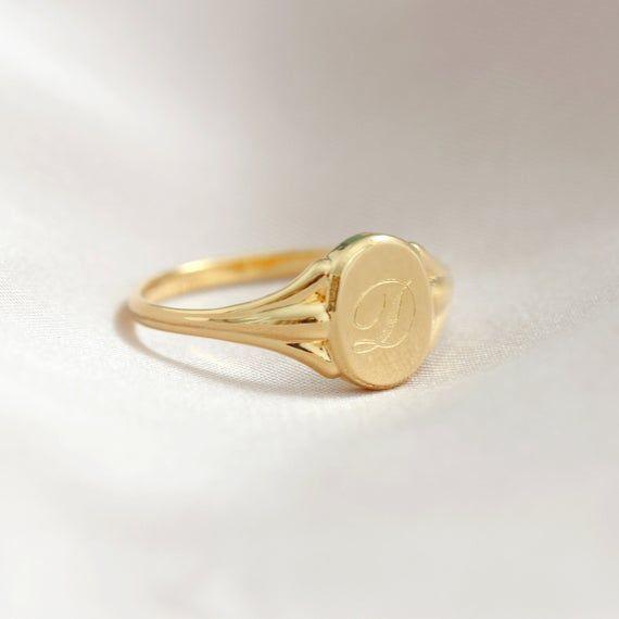 Black Gold Signet Ring,Custom Signet Ring,Anniversary Gift,Engagement Gift,14k Black Gold Signet Ring,FREE CUSTOM ENGRAVING,Ladies Ring