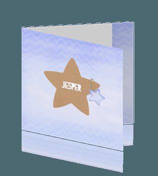 Geboorte jongen ster van bruin craft papier en blauwe chevron aquarel