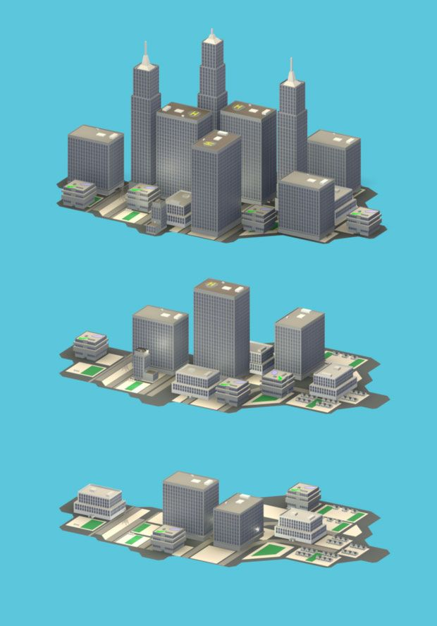 """Isometric cityscape  """"Concept art of building pieces for a 'sims' like game used to promote awareness of energy consumption as an effect on the economy and environment.""""  Made with Maya"""