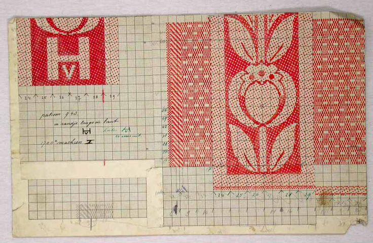 Patroontekeningen handdoek voor 'Hotel Schiller'