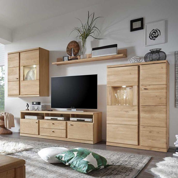 Wohnzimmer Wohnwand aus Wildeiche Bianco LED Beleuchtung (4-teilig - moderner wohnzimmerschrank mit glastüren und led beleuchtung