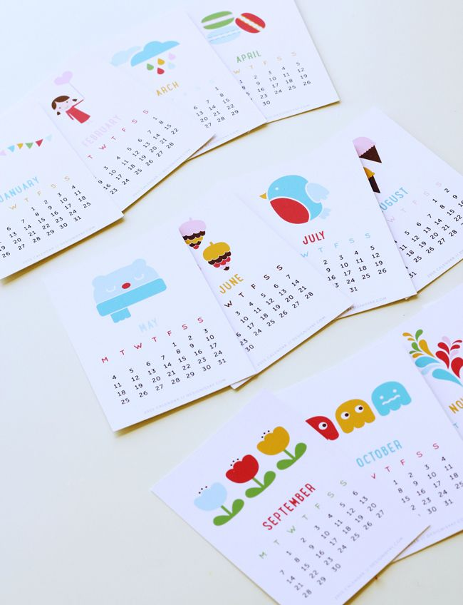 Free Printable 2015 Calendar Year of Colour |