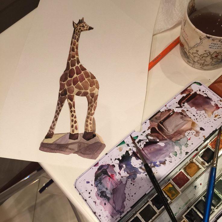 Giraffe , animals, Africa , water Colours