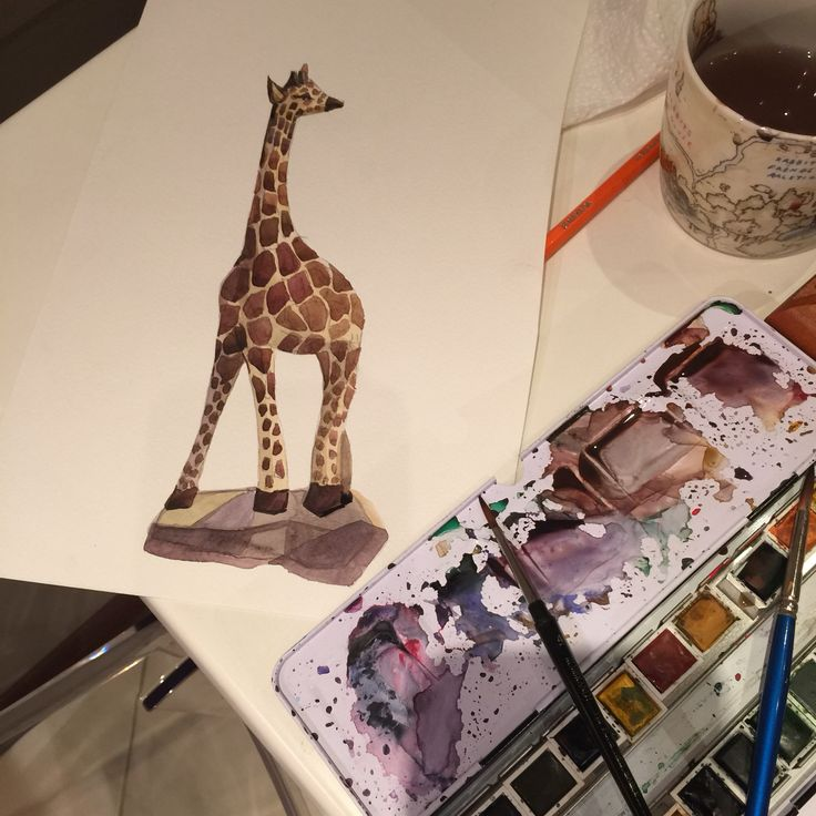 Giraffe , animals, Africa , water Colours