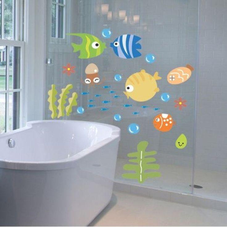 ecofriendly cute cartoon fishes wall sticker bathroom baby room nursery kids decor decal