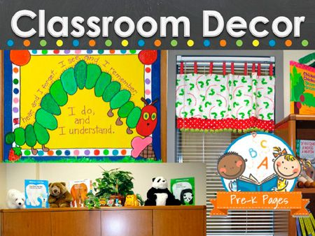 Cassroom decor pictures and ideas for preschool, pre-k, and kindergarten teachers.