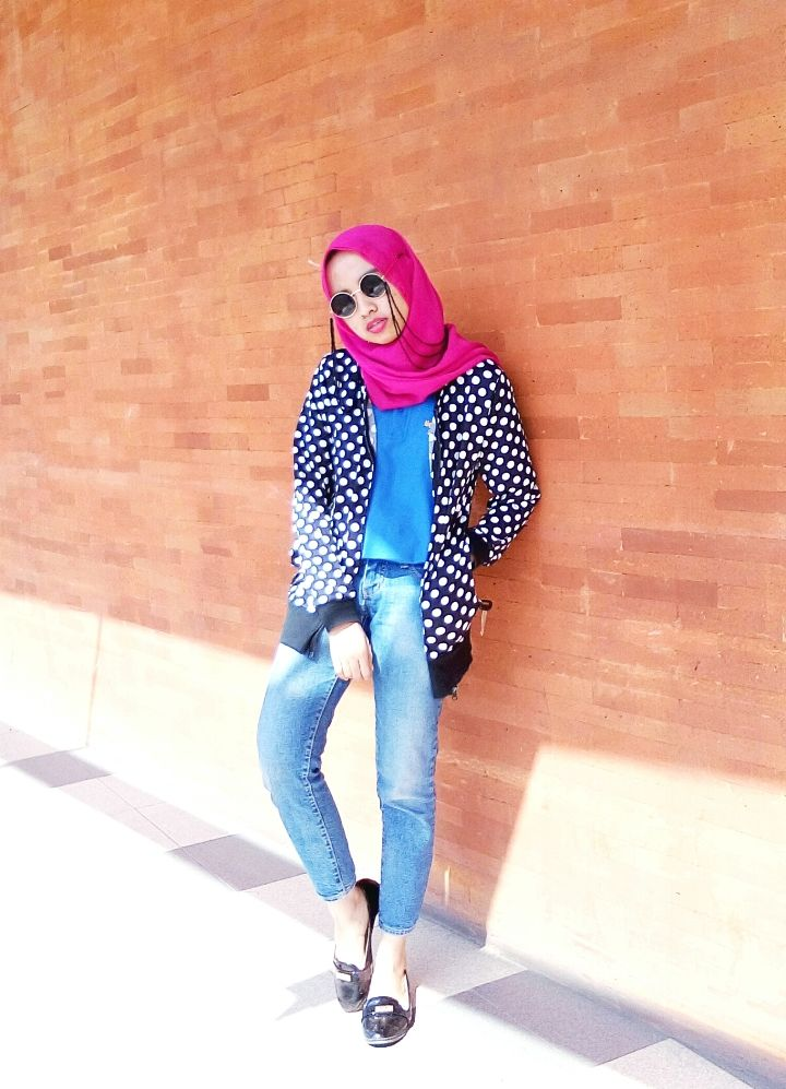 OOTD : Fushia in Summer  #summerstyle #otd #hijab #casualstyle #polkadot #playcolors