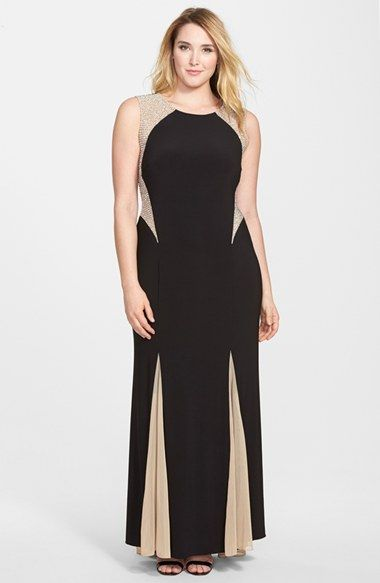 Xscape Beaded Colorblock Gown (Plus Size) available at #Nordstrom